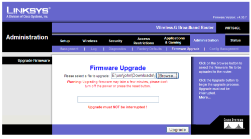 Installing Kamikaze 7 09 on a Linksys WRT54GL