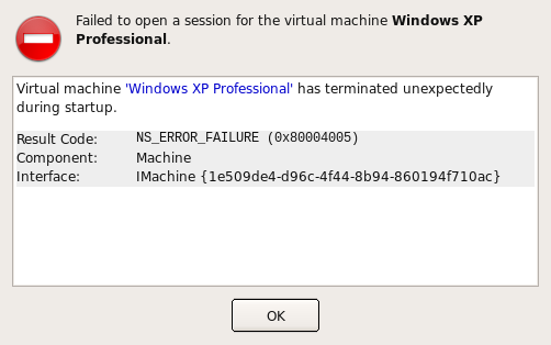 failed to open a session for the machine